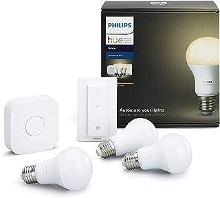 Philips Hue White - Kit de 3 bombillas LED E27, puente e interruptor o mando, 9 W, iluminación inteligente, luz blanca cálida regulable (compatible con Amazon Alexa, Apple HomeKit y Google Assistant)