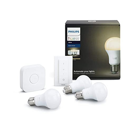 Philips Hue White - Kit de 3 bombillas LED E27, puente e interruptor o mando