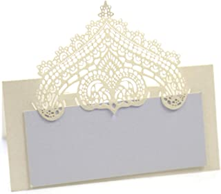 DOUKING 100 Pcs Table Place Cards with White Inserts - Crown Tent Cards Name Cards for Wedding, Banquets, Buffet, Baby Shower, Bridal Shower, Birthday Party, Meetings, Dinners (Cream)