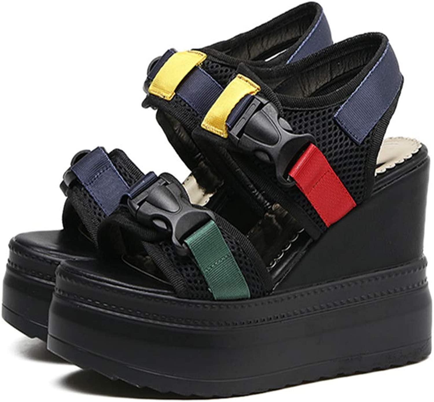 Betly 2019 Summer Flats shoes Woman Fashion Mixed colors Platform Wedge Women Sandals Casual air mesh Buckle Female shoes Chaussure