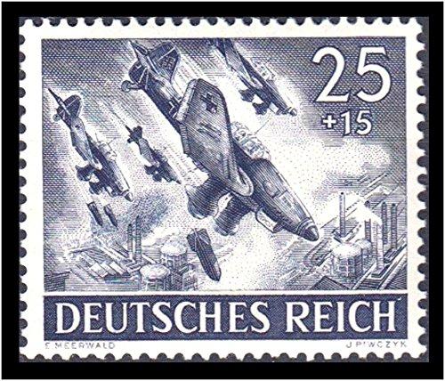 RARE ORIGINAL WW2 NAZI STAMP w STUKAS DIVEBOMBING ENEMY CHEM PLANTS! FLAWLESS CONDITION