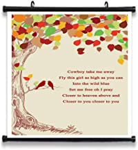 GEHUA06 Cowboy Take Me Away Song Lyrics Decor Gift Poster Print Lyric Quote Wall Art Canvas Home Artwork Decoration Framed 12X12in
