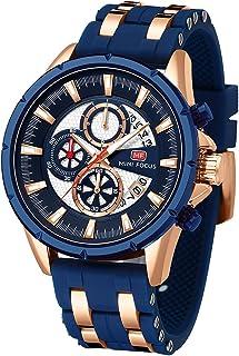 Men Watch, MINIFOCUS Chronograph Waterproof Sport Analog Quartz Watches Silicon Strap Fashion Wristwatch for Men