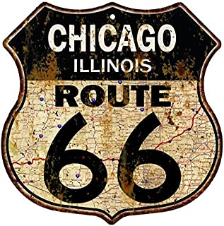Great American Memories Chicago Route 66 Sign Vintage Room Decor Street Tin Man Cave Garage Decorations Wall Retro Old Car Motorcycle Rt Art Gas 12x12 Metal Shield Signs S122284