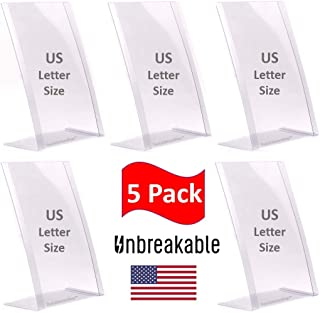 'Unbreakable' 5 Pack of 8.5 x 11 inches - Table Sign Holders - Poster Holders - Menu Holders - Flexible Lightweight Slant Back Plastic - Display Holders - Message Holders - Photo Holders