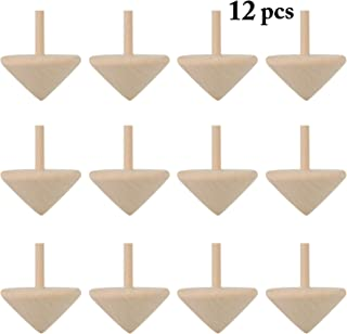 B bangcool Wooden Spinning Top Toys Wood Spin Up Toy for Party Favors(12Pcs)