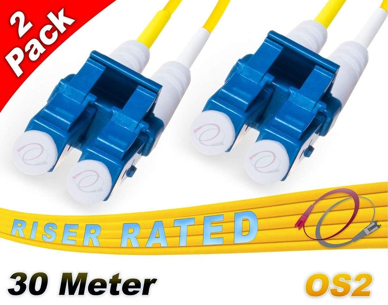 カリング血統散るFiberCablesDirect - マルチパック 30M OS2 LC シングルモード ファイバーパッチケーブル | デュプレックス 9/125 LC から LC シングルモード ジャンパーコード 30メートル (98.42フィート) | パックオプション: 2、4、6、10、12、24 | パッチコード lc-lc 2 pack イエロー FCDUS420v11776