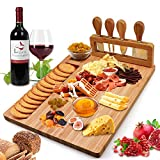 Bamboo Cheese Board Set, Cheese Tray, Charcuterie Board and Serving Meat Platter