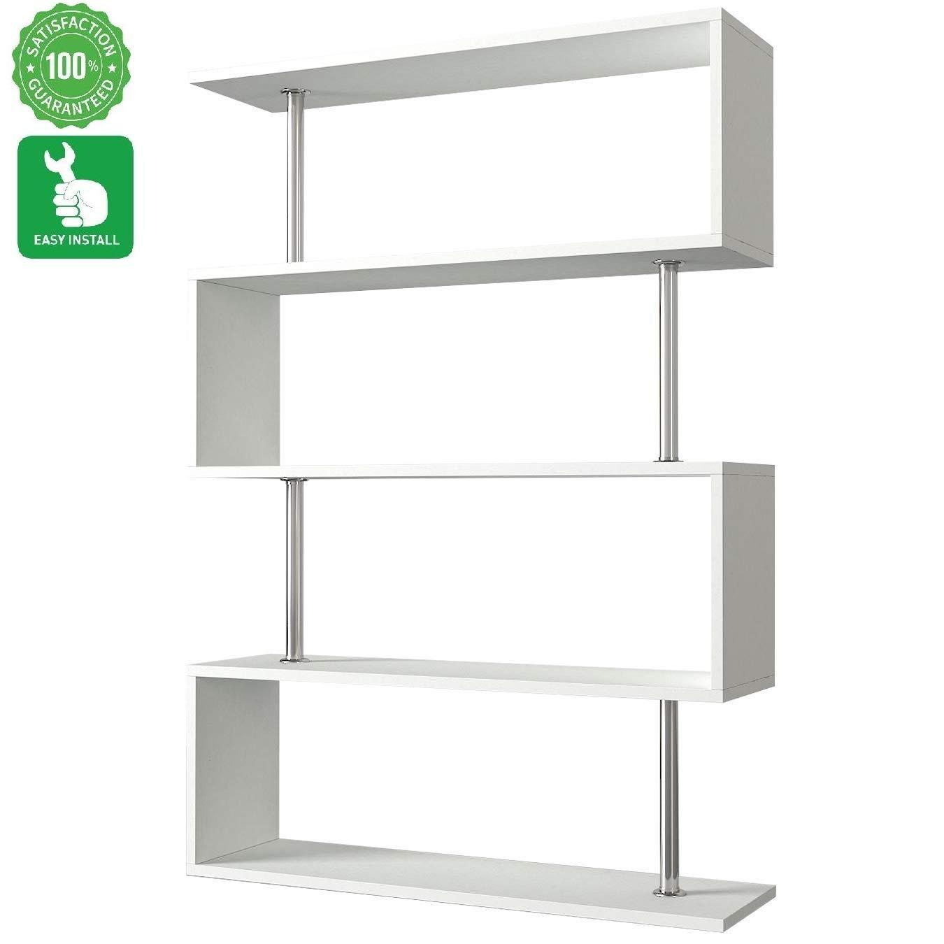 Evomax Estantería blanca para libros, estantería moderna, estantería de diseño moderno y estantería para libros, 4 estantes, estantes de madera para pequeños espacios, estantería blanca: Amazon.es: Juguetes y juegos