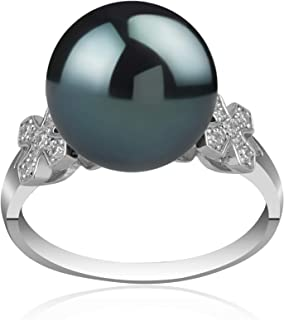 Ireland Black 12-13mm AA Quality Tahitian 925 Sterling Silver Cultured Pearl Ring For Women