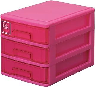 サンコープラスチック 小物収納3段 シルキー 幅18.2×奥26.5×高19cm ピンク