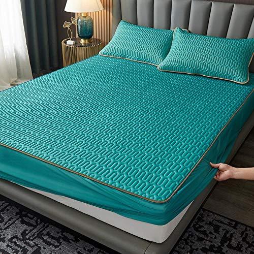 FJMLAY Spannbettlaken extra weich, umweltfreundlich,Latex Matte Bett Spannbetttuch, Schlafzimmer Wohnung rutschfeste Matte Protector-Green_2_180cmx200cm