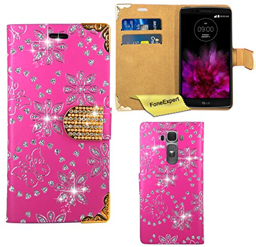 LG G Flex 2 Hülle, FoneExpert® Bling Luxus Diamant Hülle Wallet Hülle Cover Hüllen Etui Ledertasche Premium Lederhülle Schutzhülle für LG G Flex 2 + Bildschirmschutzfolie (Rosa)