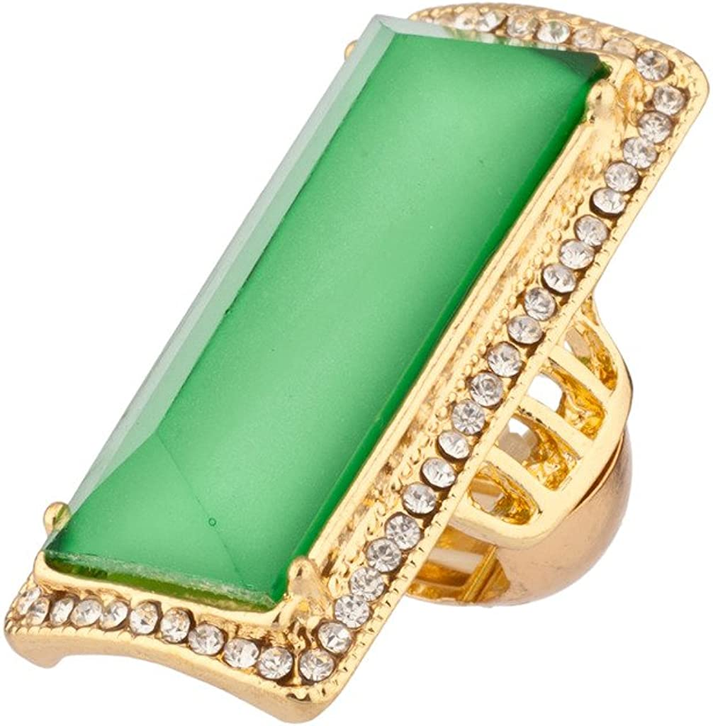 LUX ACCESSORIES Lime Green Pave Crystal Cocktail Stretch Ring