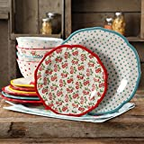 The Pioneer Woman Timeless Floral and Retro Dot Mix and Match 12-Piece Dinnerware Set
