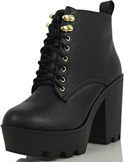 Women's Climate Faux Leather Lace-Up Thick Platform Chunky Heel Lug Ankle Bootie