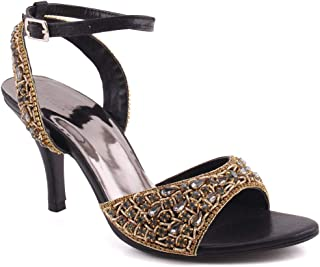 Unze Women Helena Glittering Bridal Sandal with Ankle Closure Peep Teo UK Size 3-8 - AK-030.3