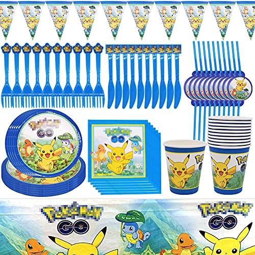 Babioms Fête d'anniversaire pour Enfants, Décoration De Fête, Pikachu Nappes/Bannières/Vaisselle, pour 10 Invités pour Party Celebration (81 pcs)