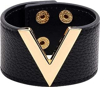 Wide Cuff Leather Wrap Bracelet V Shape 21cm 8 inch Length
