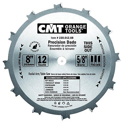 CMT 230.012.08 Dado Pro Set, 8-Inch x 12 Teeth FTG+ATB Grind with 5/8-Inch Bore