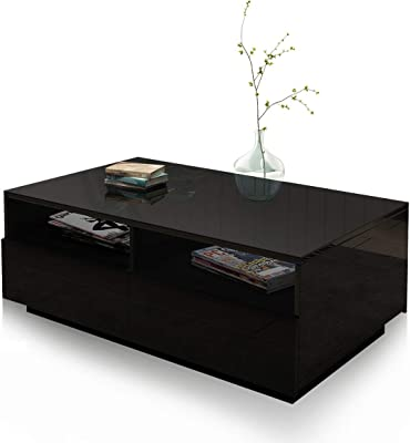 Coffee Table End Table High Gloss 4 Drawers & 2 Open Shelves Wooden Storage Shelf Modern Furniture Living Room Black
