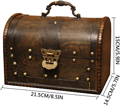 Treasure Storage Box,European Nostalgic Pirate Storage Box Home Decoration Wooden Box Vintage Jewelry Treasure Box,Three Locks,ORANGELD