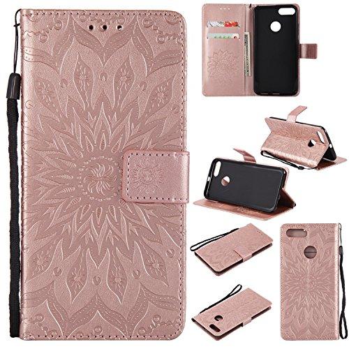 Guran® Funda de Cuero para Xiaomi Mi 5X / Xiaomi Mi A1 Smartphone Función de Soporte con Ranura para Tarjetas Flip Case Cover-Oro Rosa