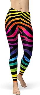 Rainbow Zebra Stripes Leggings for Women Mid Waisted Pants Colorful Stripe Patterns