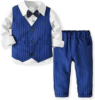 OCHENTA Little Toddler Boys 4Pcs Suit Set Long Sleeve Shirts Vest Pants Outfit Suit with Bow Tie