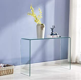 Transparent Glass Table, Clear Bent Modern Home Office Furniture, Tempered Glass Sofa..