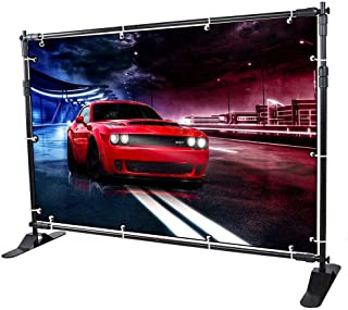 GUOHONG 8'x8' Backdrop Banner Stand Multifunctional Adjustable Telescopic Height and Width Photo Booth Banner and Reuse for Trade Show and Display Booth Exhibitor Background