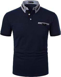STTLZMC Men Polo Shirt Short Sleeve Casual Regular Fit Chambray Collar Sports Golf Basic T-Shirt