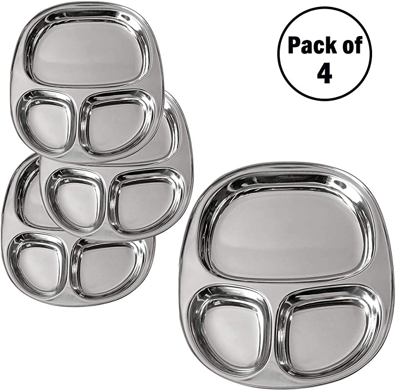 IndiaBigShop Stainless Steel Oval Dining Plate 3 Compartment For Pav Bhaji And Breakfast Set Of 4 10 5 X 9 Inch