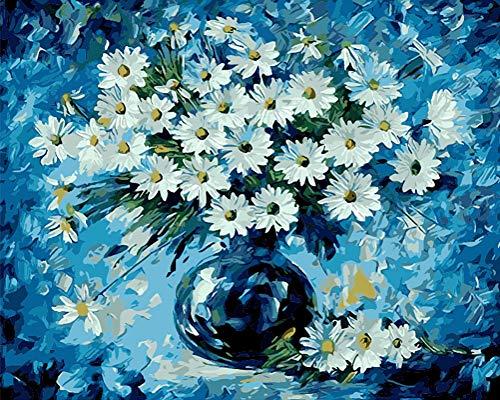 WONZOM DIY Pintura al óleo Pintura por Números para Adultos y Principiantes - Margaritas Azules...