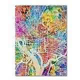 Washington DC Street Map by Michael Tompsett, 24x32-Inch Canvas Wall Art