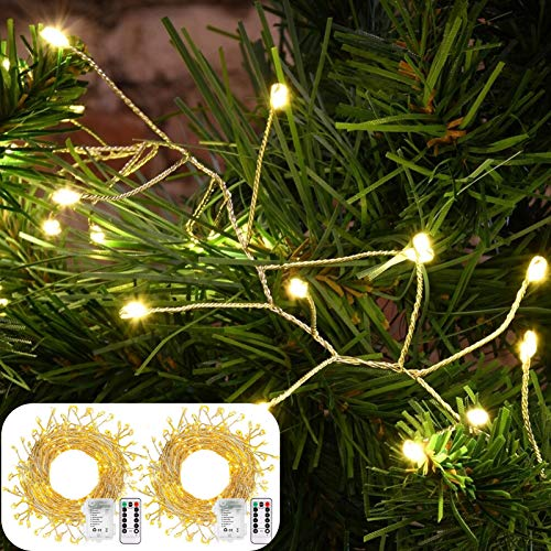 DreiWasser Fairy String Lights, 2 Pack 3 Metres 200 LEDs Garland Lights with Remote, Battery Powered LED Cluster Firecracker Lights for Christmas Tree, Bedroom, Wedding, Party (Warm White)