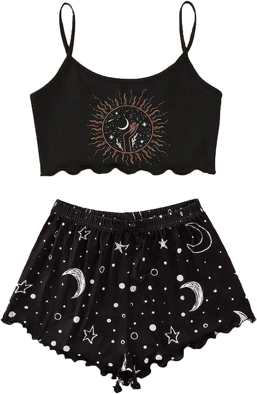 Crop Cami Top Summer Sleeveless Tank Tops Camisole Set Women Print Home Sleep Set Camisole Tops+Pants