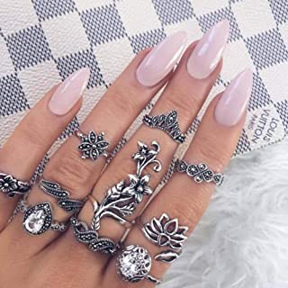 YERTTER Teens Rings Boho Ring Set Joint Knuckle Ring Set Vintage Mid Rings for Women Men Party Prom Vacation (10pcs)