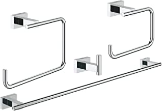 GROHE 40778001 Essentials Cube Master Bathroom Set, 4-In-1, Starlight Chrome
