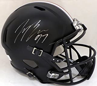 JOEY BOSA AUTOGRAPHED OHIO STATE BUCKEYES BLACK WITH RED STRIPE FULL SIZE SPEED REPLICA HELMET BECKETT BAS STOCK #128912