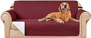 subrtex Funda de sofá Reversible Acolchada para 1,2,3 plazas Funda de Silla Antideslizante para Mascotas y niños con Correas Elásticas Protector de Muebles (2 Plaza, Burdeos)
