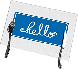 Kkyoxdiy Dining Table Placemats Set of 4 Hello Image Kitchen Place Mats 12
