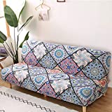 Mingfuxin - Funda de sofá cama sin reposabrazos, antideslizante, de elastano, funda elástica, funda protectora para sofá de 2 a 3 plazas