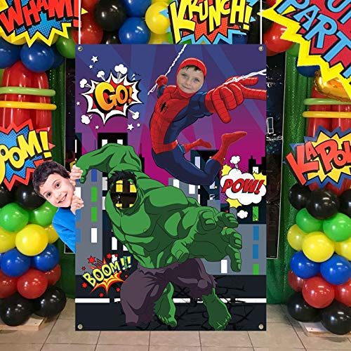 TUWUNA Superhero Photo Door Banner,Spider and Green Giant Superhero Face Photography Fabric Banner Background for Kids Birthday Party Favor Supplies Decorations and Party Game Photo Props Backdrop Props