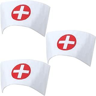 Nurse Hat Headband Print Cross Nurse Costume Hat White Nurse Cap for Halloween Cosplay Party Costume Accessories (6)