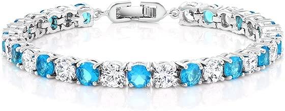 Gem Stone King 12.00 Ct Round Cut Aqua Blue and White Cubic Zirconia CZ Tennis Bracelet, 7 Inch