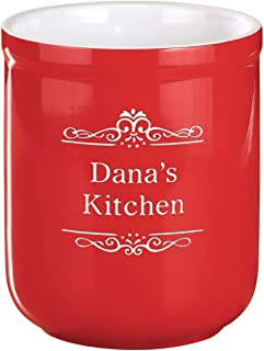 Personalized Utility Stoneware Crock - Customize 2 Lines Utensil Holder Housewarming Gift - Red