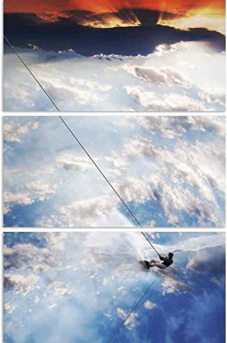 ArtzFolio Man Moves On Water Skis In The Sky Split Art Painting Panel On Sunboard 28 X 42Inch