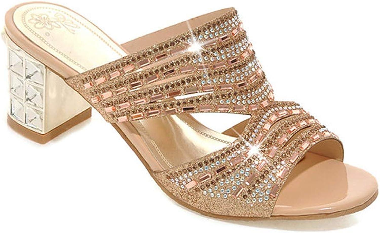Eora-2sl shoes Women Luxury Women Slides Open Toe High Heels Rhinestone Slippers Summer Slippers gold