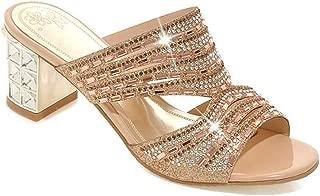 jingxlkd - Zapatillas de tacón Alto para Mujer con Puntera Abierta, con Diamantes de imitación, Color Dorado